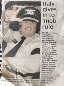 Picture of a fascist Italian with newspaper article